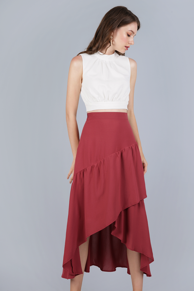 Yule Tiered Skirt (Dusty Crimson)