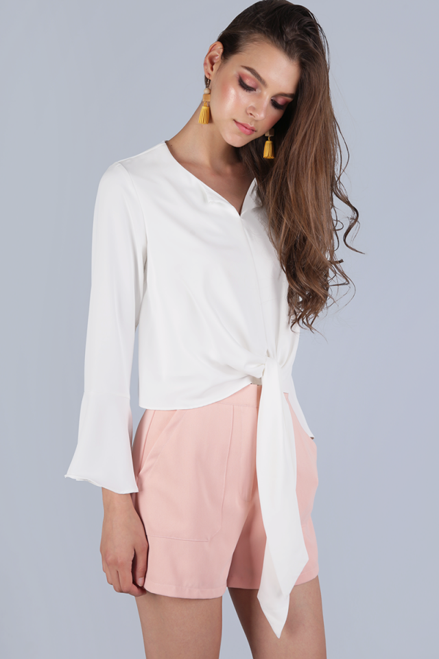 Freja Bell Sleeve Tie Front Top (White)