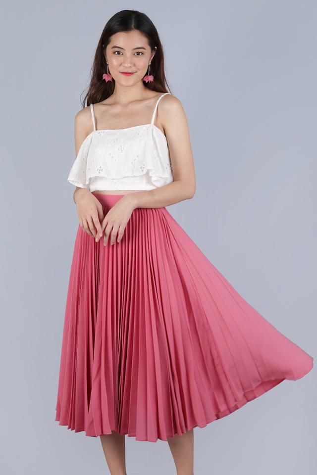 Courtney Pleated Midi Skirt (Blossom Pink)
