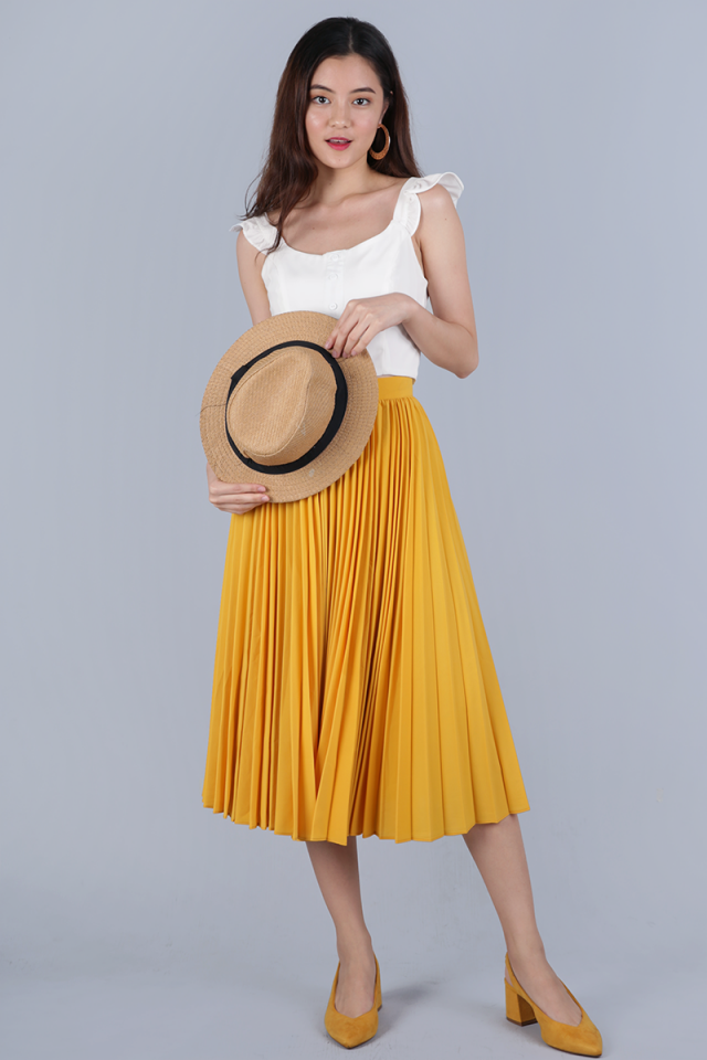 Courtney Pleated Midi Skirt (Sunshine Yellow)