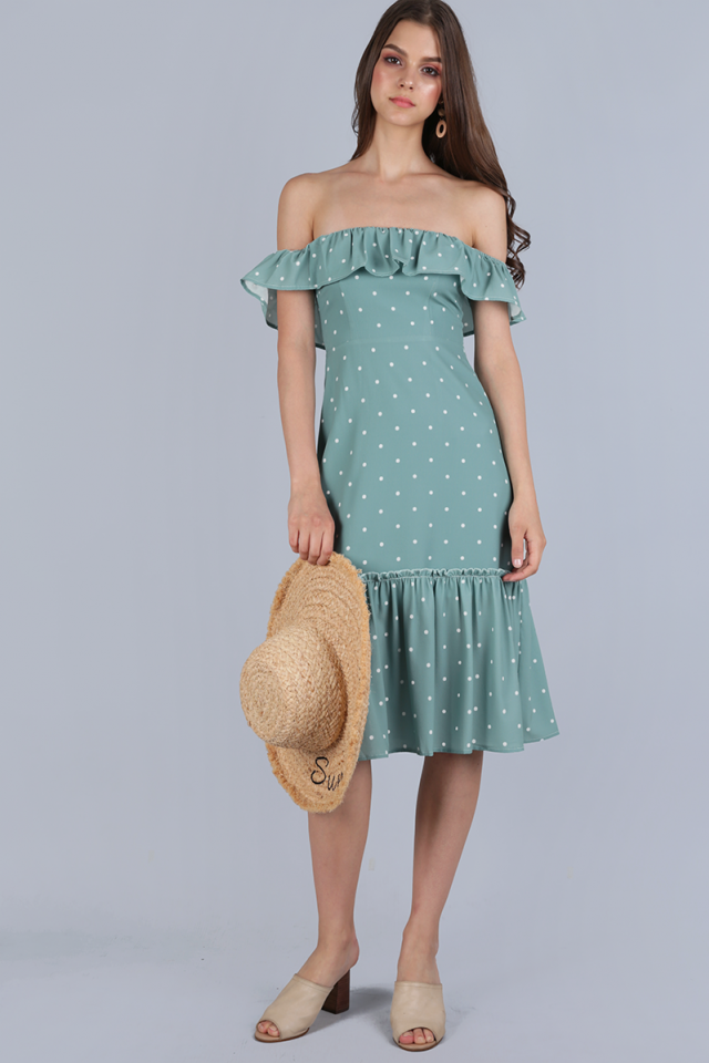 Amara Off Shoulder Dress (Seafoam Polka Dots)