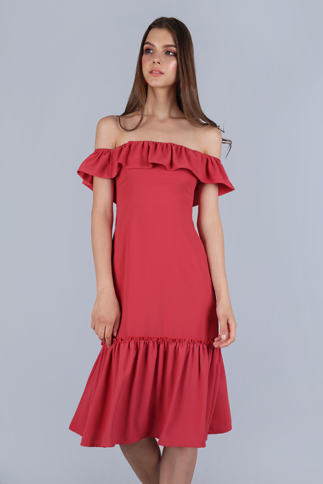 Amara Off Shoulder Dress (Auburn)