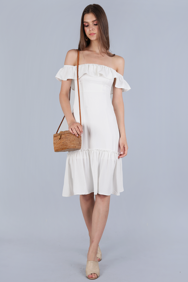 Amara Off Shoulder Dress (White)