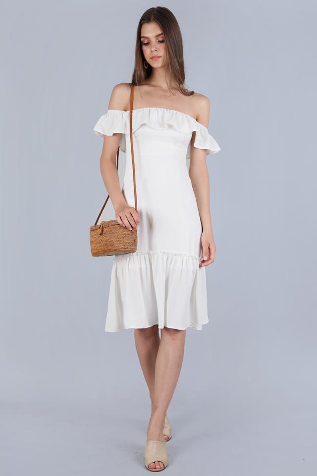 Amara Off Shoulder Dress (White)