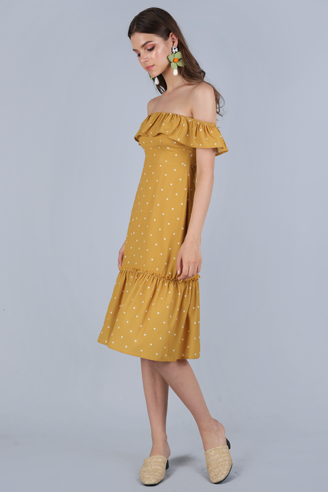 Amara Off Shoulder Dress (Mustard Polka Dots)