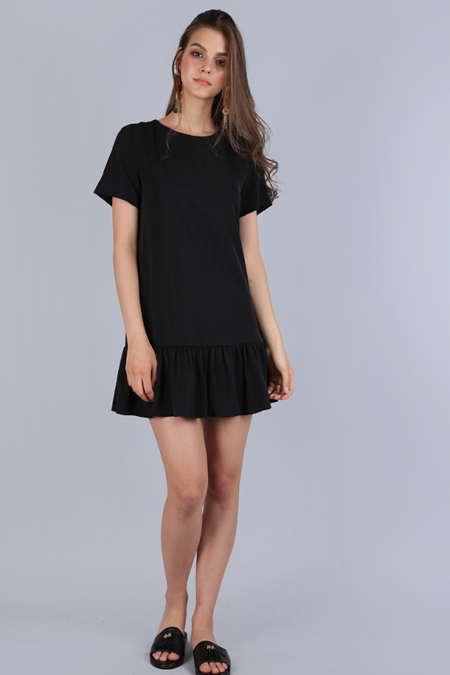 Kara Drop Hem Dress (Black)