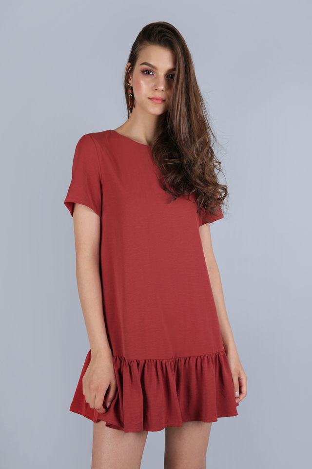 Kara Drop Hem Dress (Crimson)