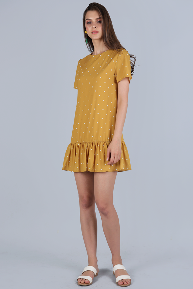Kara Drop Hem Dress (Mustard Polka Dots)