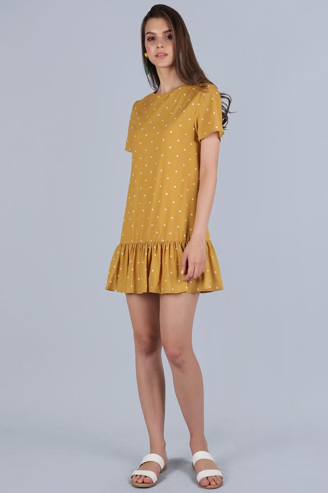 Kara Drop Hem Dress (Mustard Polka Dots)
