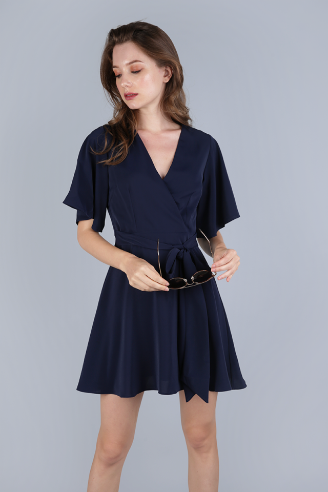 Izabela Flare Sleeve Dress (Navy)