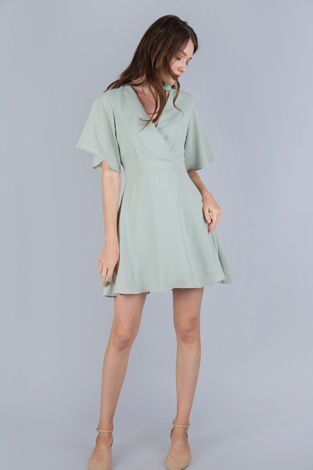 Izabela Flare Sleeve Dress (Sage Green)