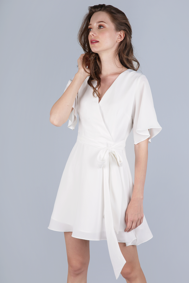 Izabela Flare Sleeve Dress (White)