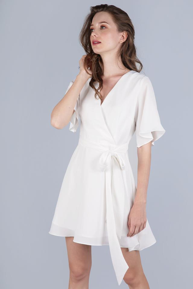 Izabela Flare Sleeve Dress (White)