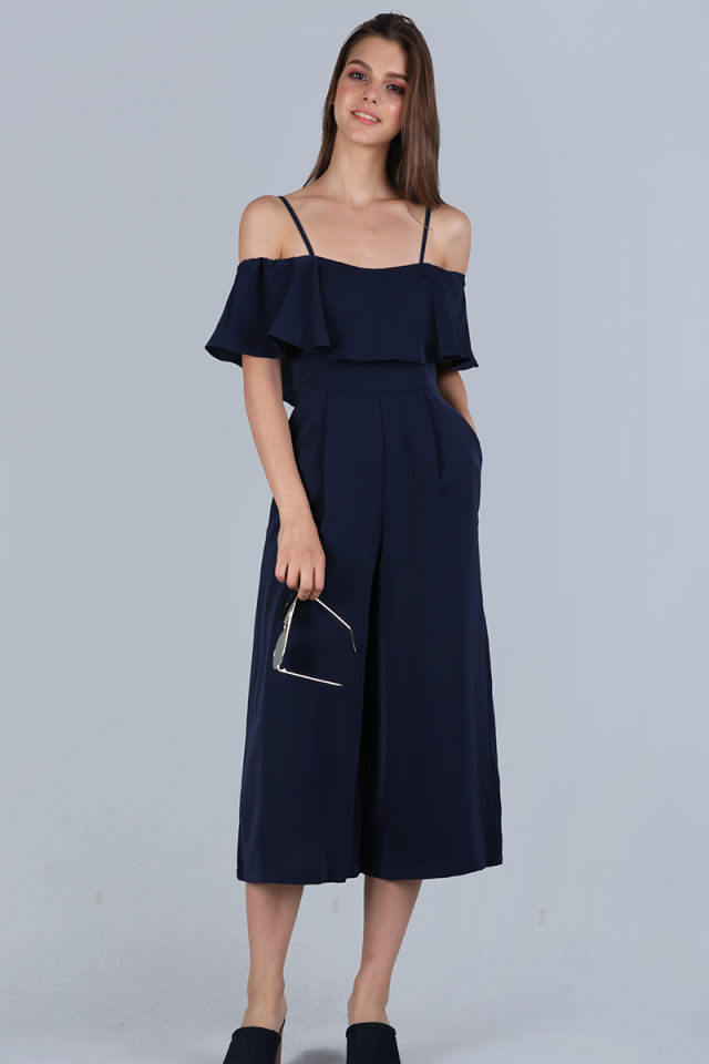 Lucca Off Shoulder Jumpsuit (Navy)