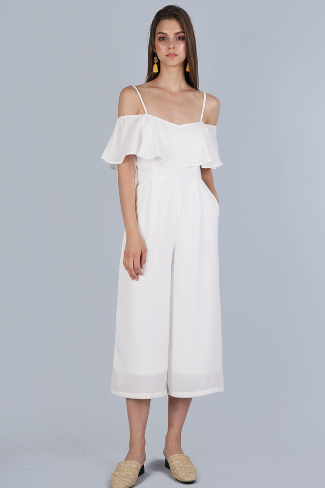 Lucca Off Shoulder Jumpsuit (White)