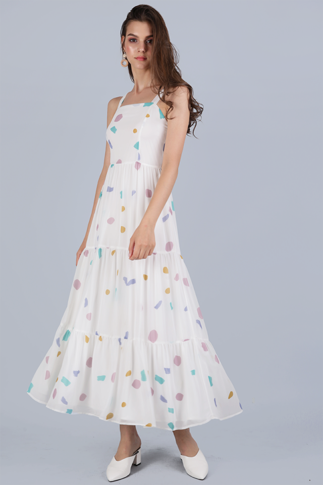 Flo Tiered Maxi Dress (White Confetti)