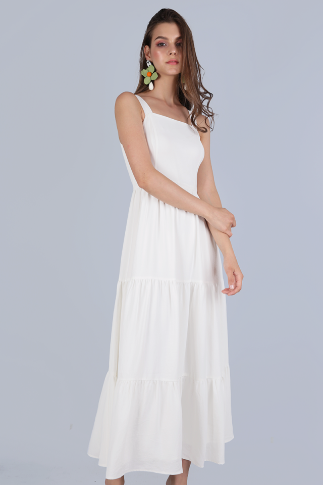 Flo Tiered Maxi Dress (White)