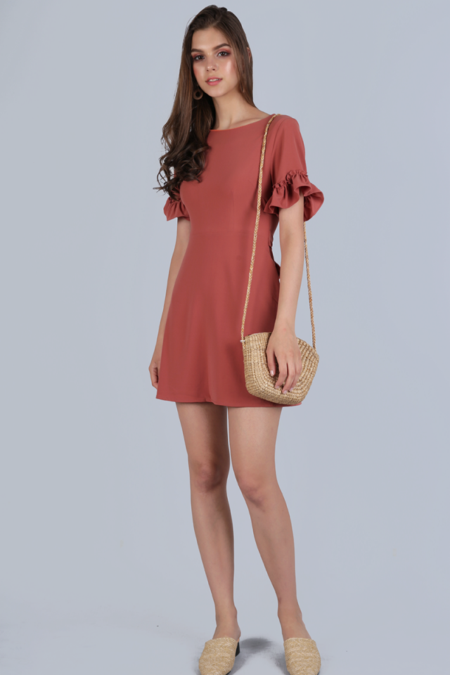 Helma Frilly Sleeve Dress (Tea Rose)