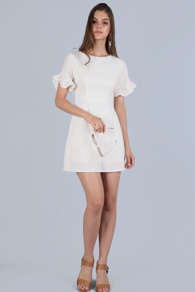 Helma Frilly Sleeve Dress (White)