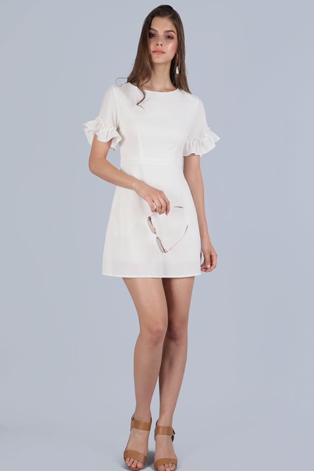 Helma Frilly Sleeve Dress (White)