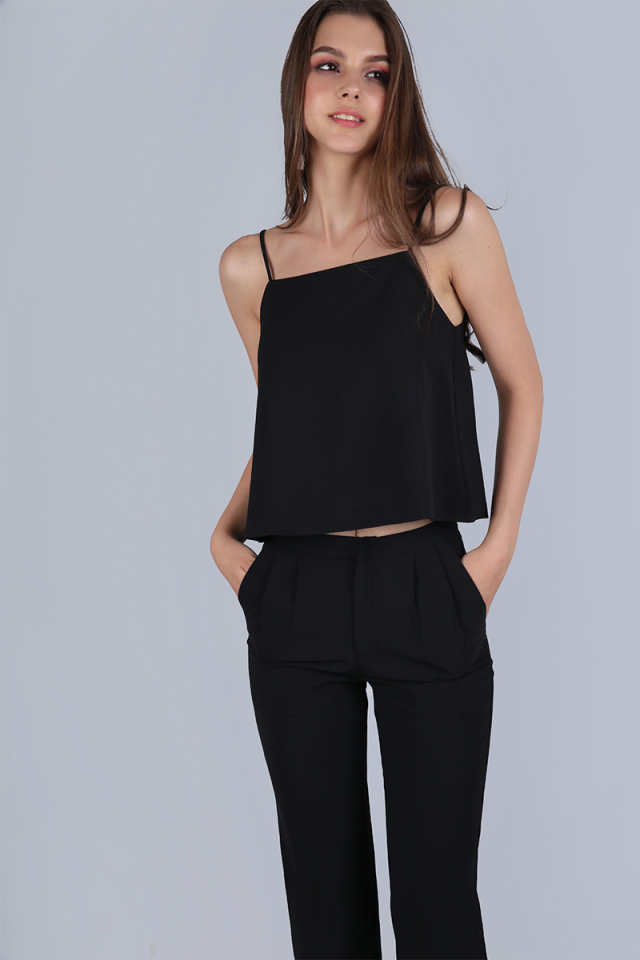 Stella Halter Spag Top (Black)