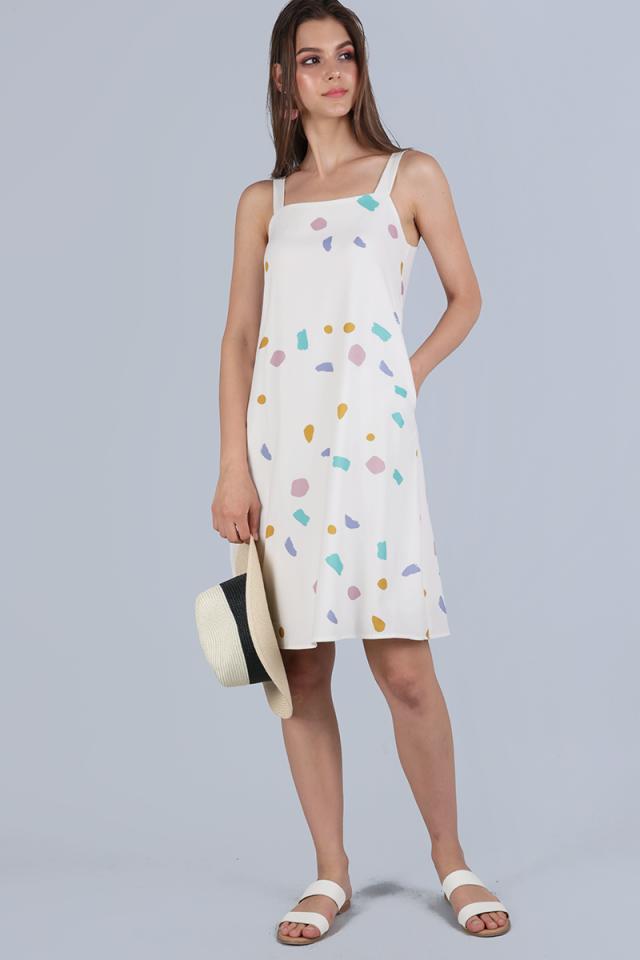 Nova Flare Dress (White Confetti)