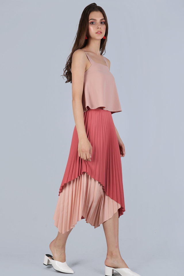 Tanya Pleated Asymmetrical Skirt (Rose)