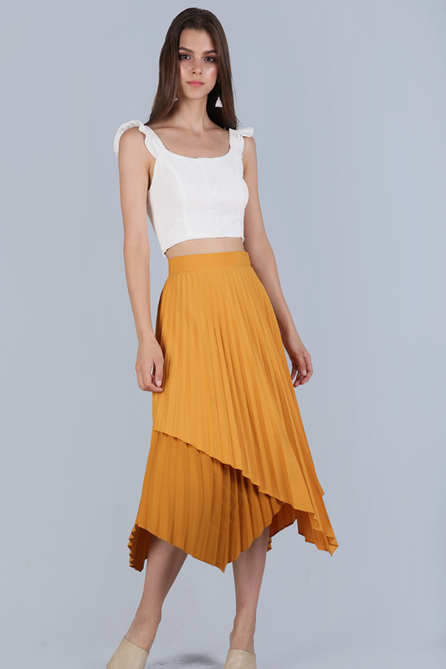 Tanya Pleated Asymmetrical Skirt (Mustard)