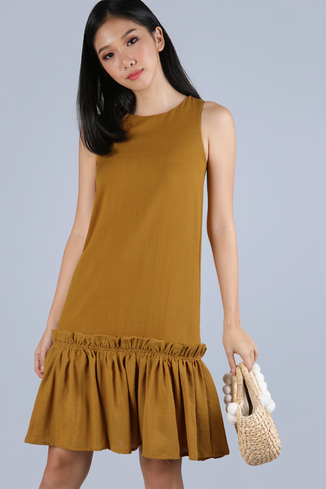 Calder Drop Hem Dress (Ochre)