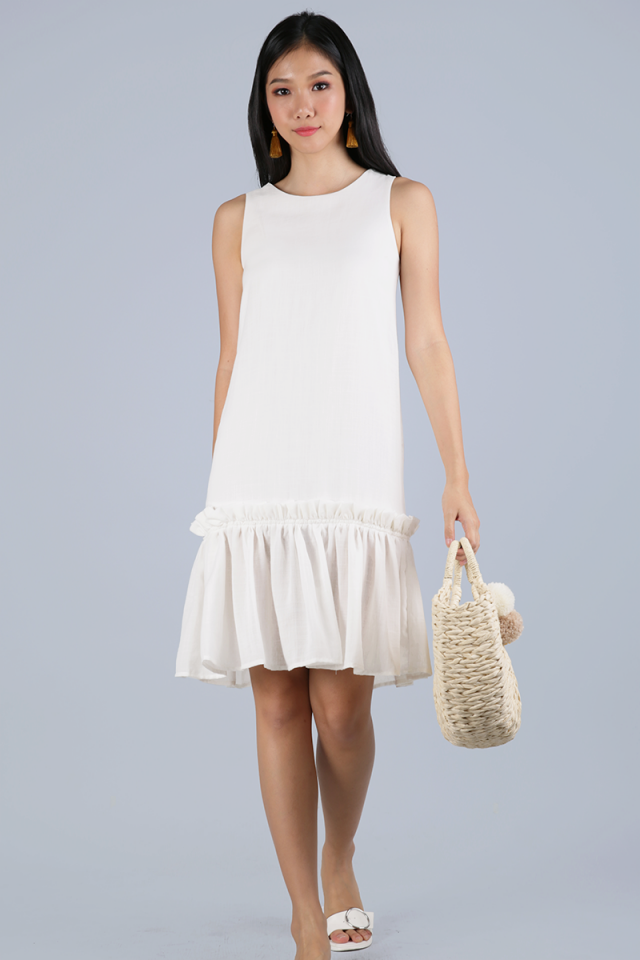 Calder Drop Hem Dress (White)