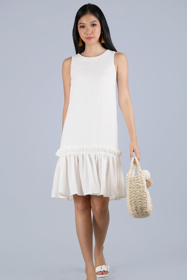 Calder Drop Hem Dress (White)