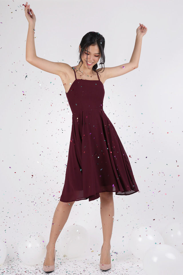 Batch 2- Odette Spag Midi Dress (Wine Red)