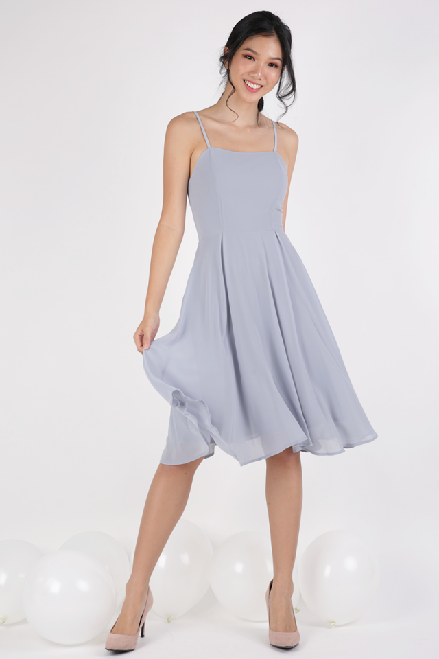 Odette Spag Midi Dress (Dove Grey)