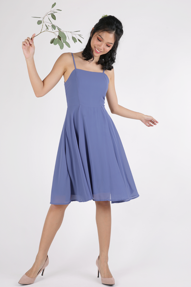 Odette Spag Midi Dress (Cornflower Blue)