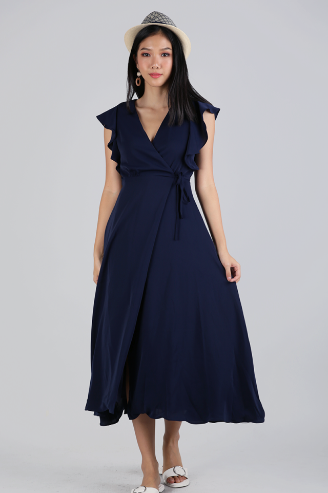 Judith Wrap Front Maxi Dress (Navy)