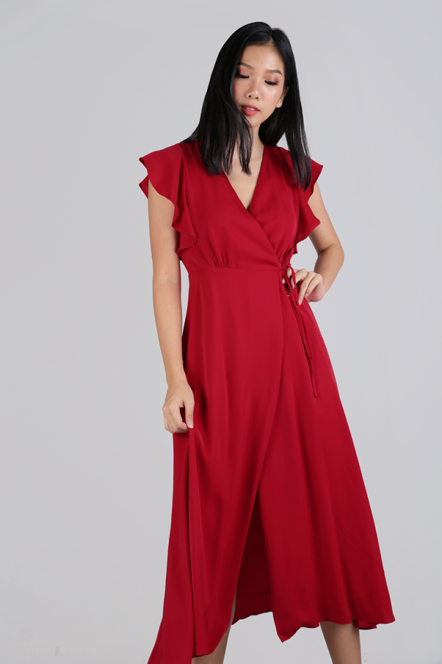 Judith Wrap Front Maxi Dress (Scarlet)