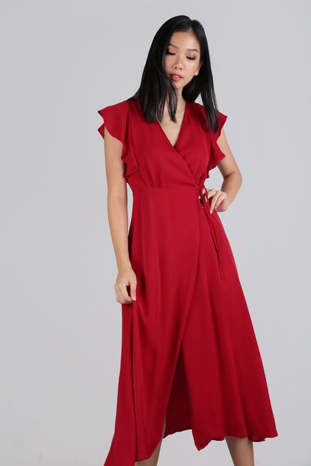 Judith Wrap Front Maxi Dress (Scarlet)