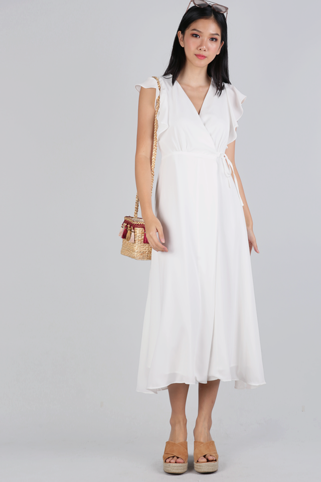 Judith Wrap Front Maxi Dress (White)