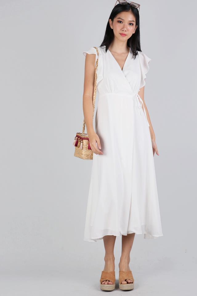 Judith Wrap Front Maxi Dress (White)