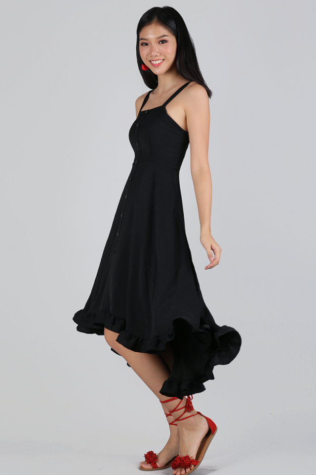 Lea Ruffles Hem Dress (Black)