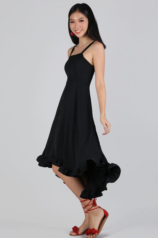 Lea Ruffles Hem Dress (Black)