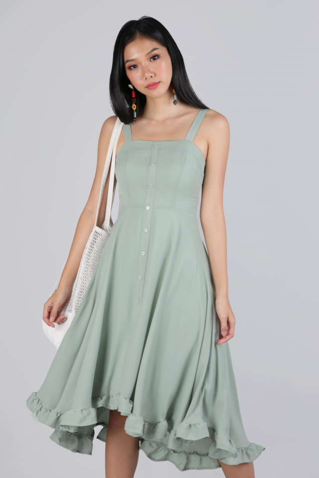 Lea Ruffles Hem Dress (Sage Green)