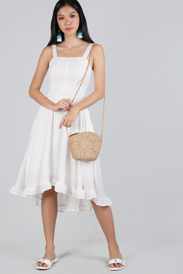 Lea Ruffles Hem Dress (White)