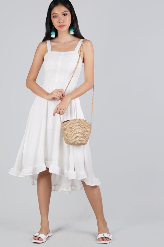 Lea Ruffles Hem Dress (White)