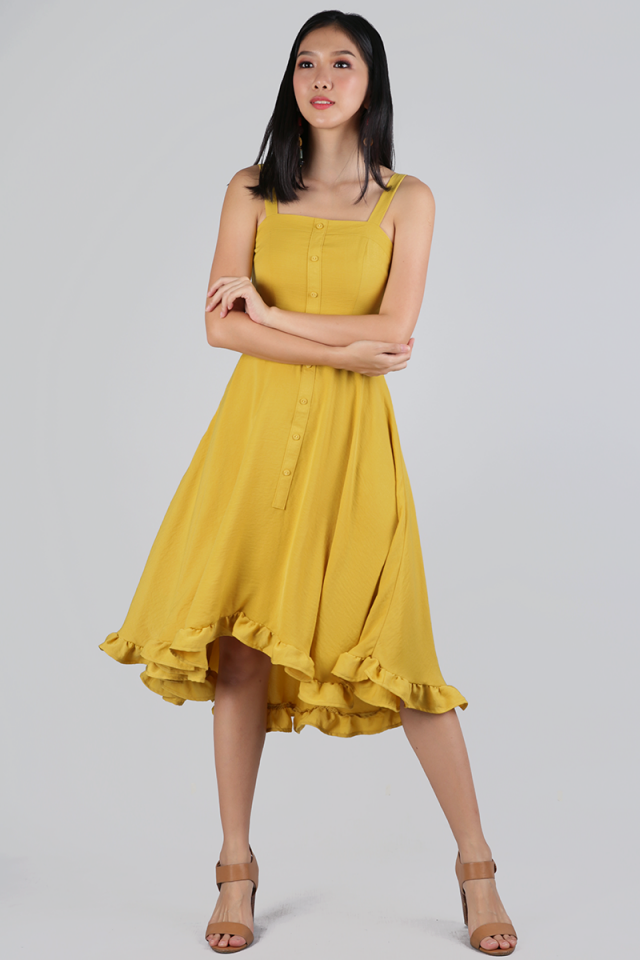 Lea Ruffles Hem Dress (Mustard)