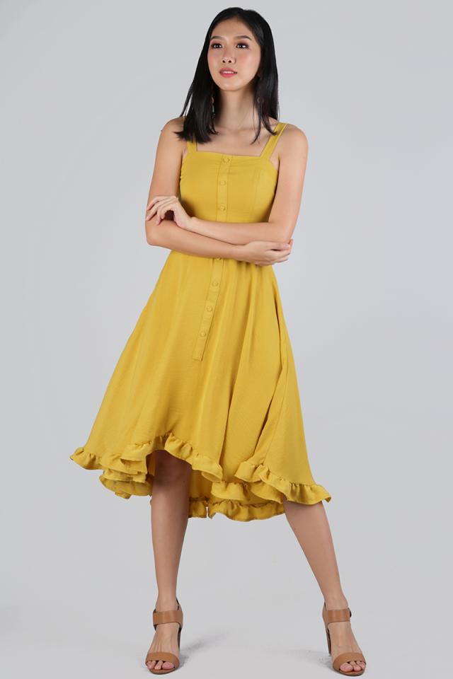 Lea Ruffles Hem Dress (Mustard)