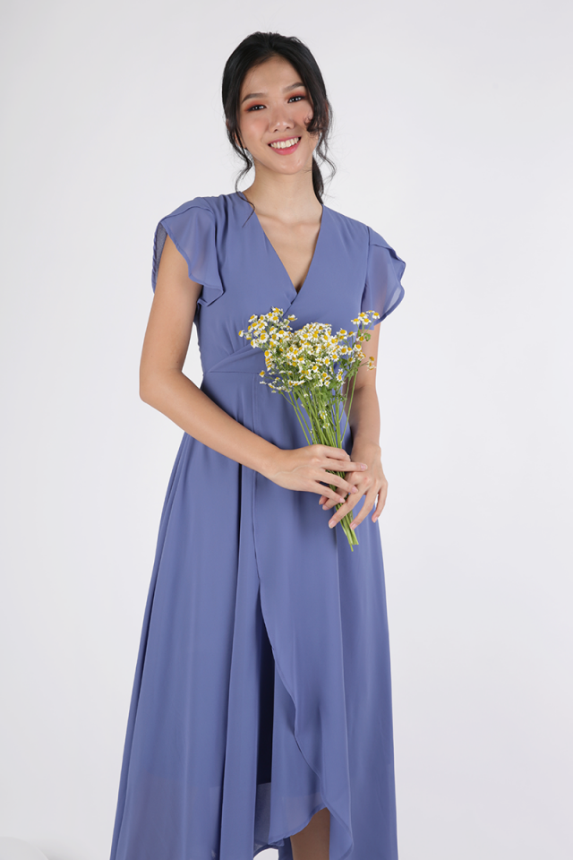 Aria Wrap Front Chiffon Maxi (Cornflower Blue)