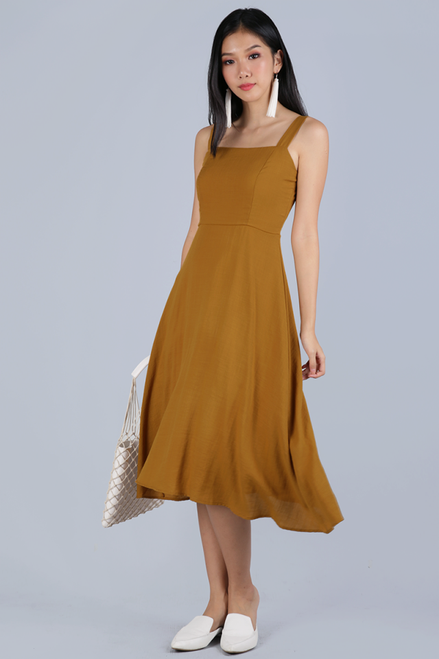 Verina Midi Dress (Ochre)