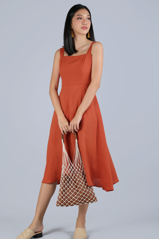 Verina Midi Dress (Tangerine)