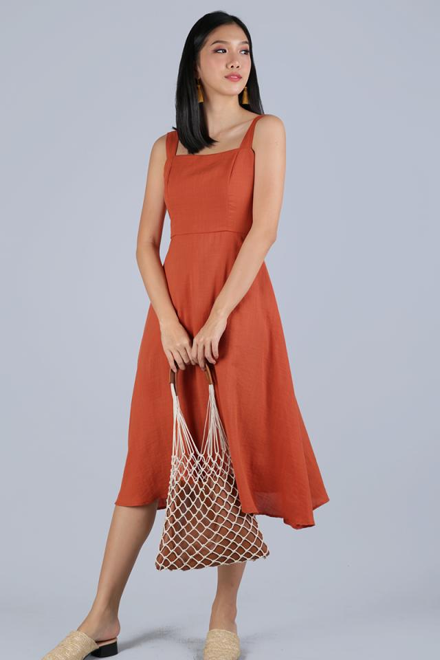 Verina Midi Dress (Tangerine)